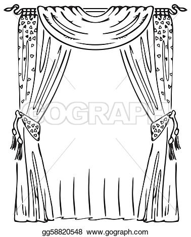 Curtain clipart coloring Vector Vector window on window
