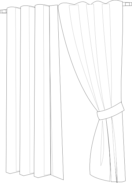 Curtain clipart coloring Image vector online Clip Art