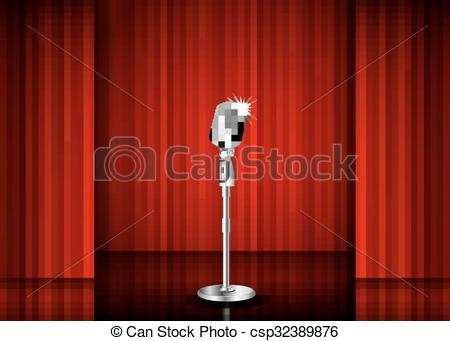 Curtain clipart comedy night And Art night red mic