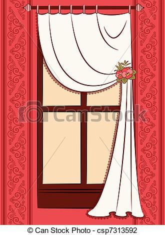 Curtain clipart logo Vector interior curtain vintage Illustration