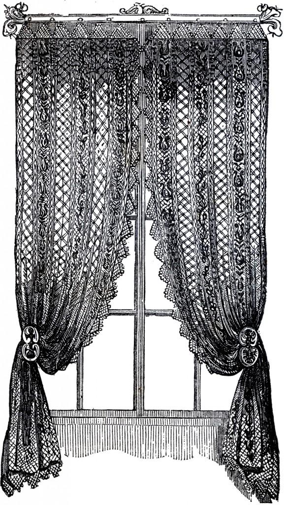 Curtain clipart victorian clipart window Vintage Curtain lace clips Art