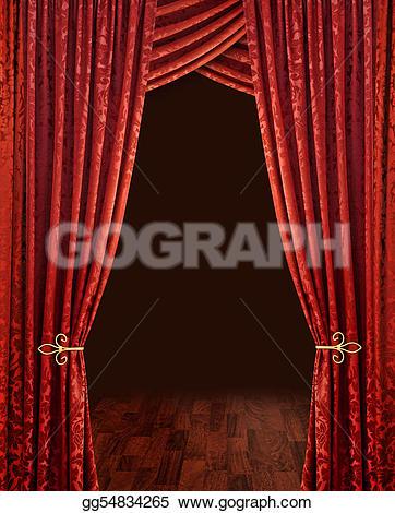 Curtain clipart victorian theatre Wooden dark stage gg54834265 Art
