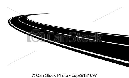 Curve clipart curved road Curved  road Perspective of