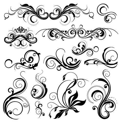 Ornamental clipart graphic design Filigree flourish decorative design swirly