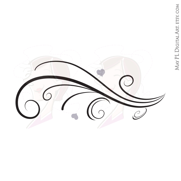 Classic clipart wedding decoration Beautiful Borders Curls Curved Vintage
