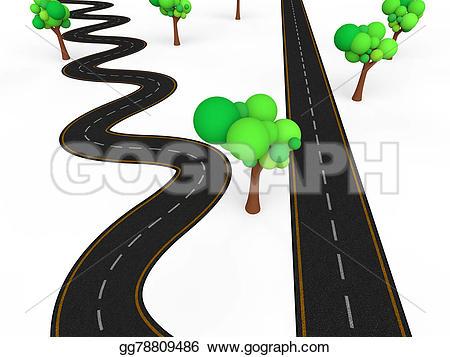 Curve clipart zigzag road Complex 3d road Drawing render