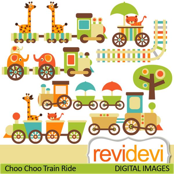 Baby Animal clipart train Choo giraffes choo with train