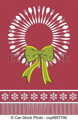 Cutlery clipart christmas Cutlery wreath csp6857746  Vector