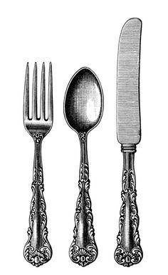 Cutlery clipart christmas Art: à art 25 Vintage