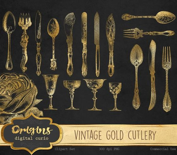 Cutlery clipart christmas Gold Cutlery by Curio on