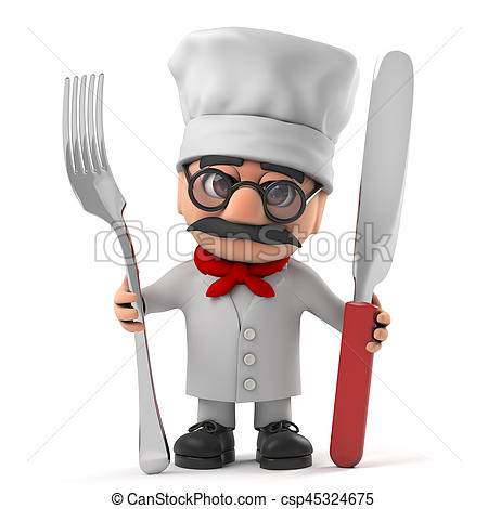 Cutlery clipart funny Old holding chef Italian cartoon