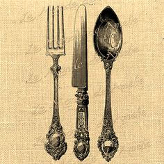 Cutlery clipart old Burlap collage image fork Vintage