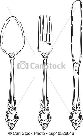 Cutlery clipart vintage Vector Vector hand Vintage Vintage