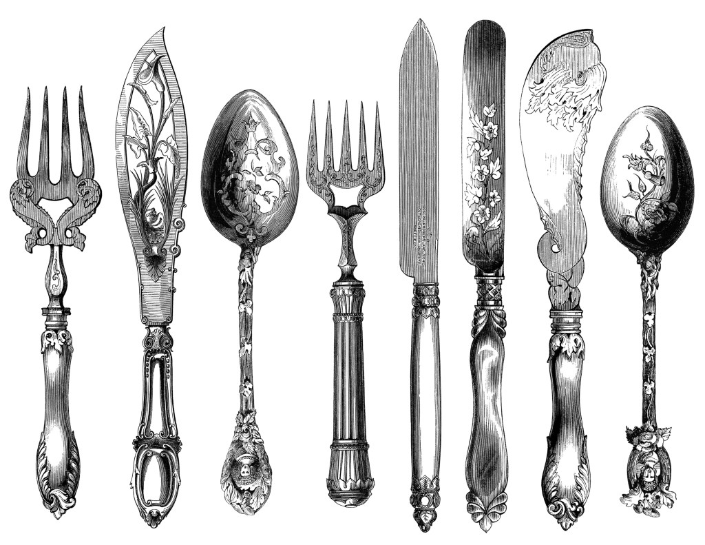 Cutlery clipart vintage kitchen  engraving fork cutlery engraving