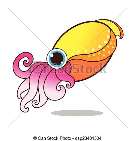 Cuttlefish clipart Cute Cuttlefish vector  805