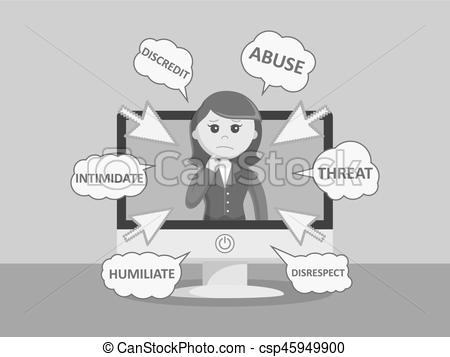 Cyber clipart black and white Cyber bully businesswoman color black