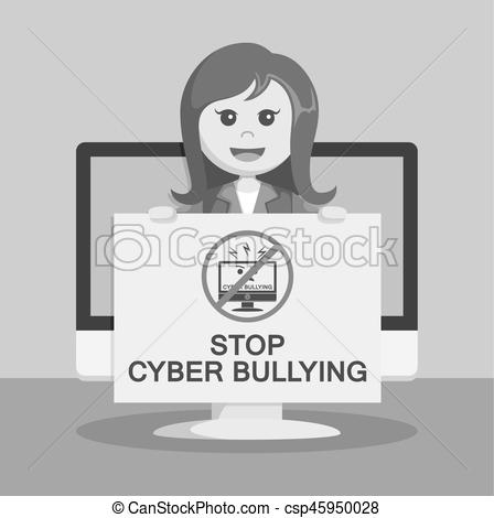Cyber clipart black and white  stop of businesswoman monitor