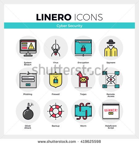 Cyber clipart materials and method Computer set flat icons internet