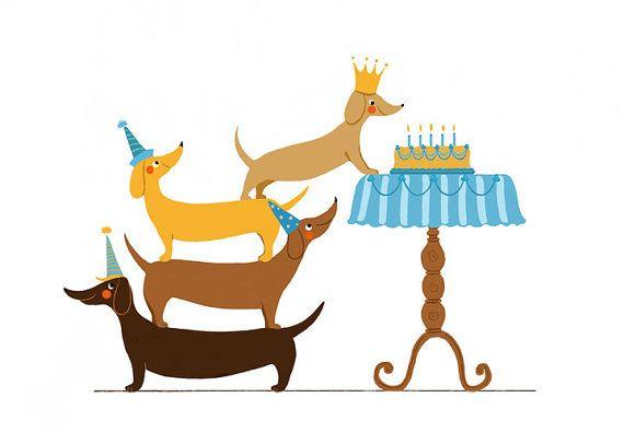 Birthday clipart dachshund On Dachshund Card Card Humorous