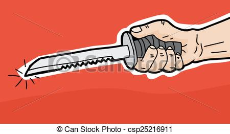 Dagger clipart hand Serrated Vector of red in