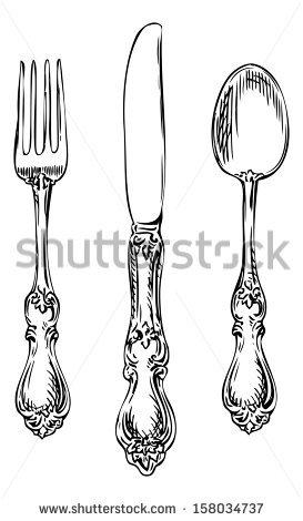 Drawn spoon cutlery Fork ShutterStock onimages Silverware spoon