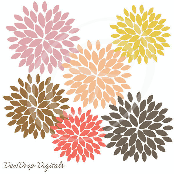 Dahlia clipart Blooming Clipart DOWNLOAD Digital Blooming