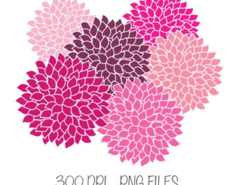Dahlia clipart COMMERICAL Off Pink Etsy Clip