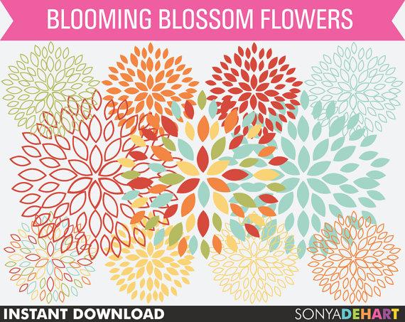 Blossom clipart bloom OFF Dahlia Clipart Il_570xn Sale