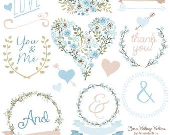Blue Flower clipart love Dahlia Lucy Vectors Wedding Art