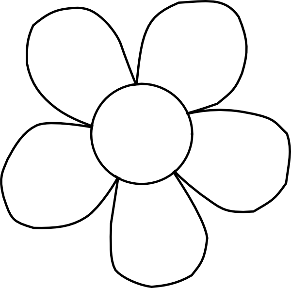 Yellow Flower clipart black and white Art image as:  Black