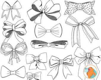 Drawn ribbon bow tie Ribbons Clip Art Tied &
