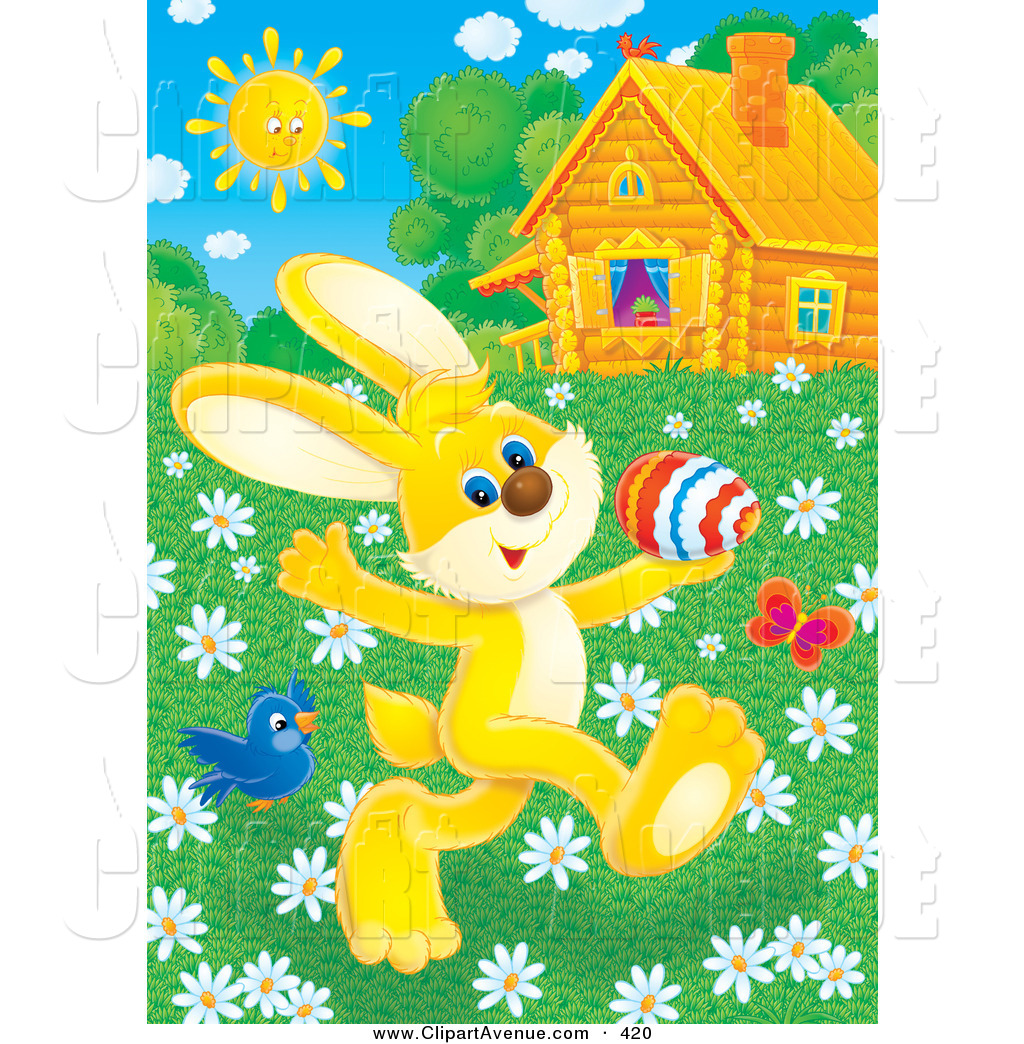 Cottage clipart bright sunny day Of Avenue Prancing Flowers Yellow