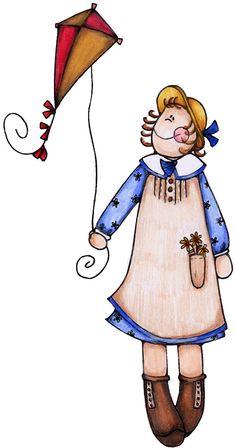 Doll clipart country Flying Pinterest basket Girl kite
