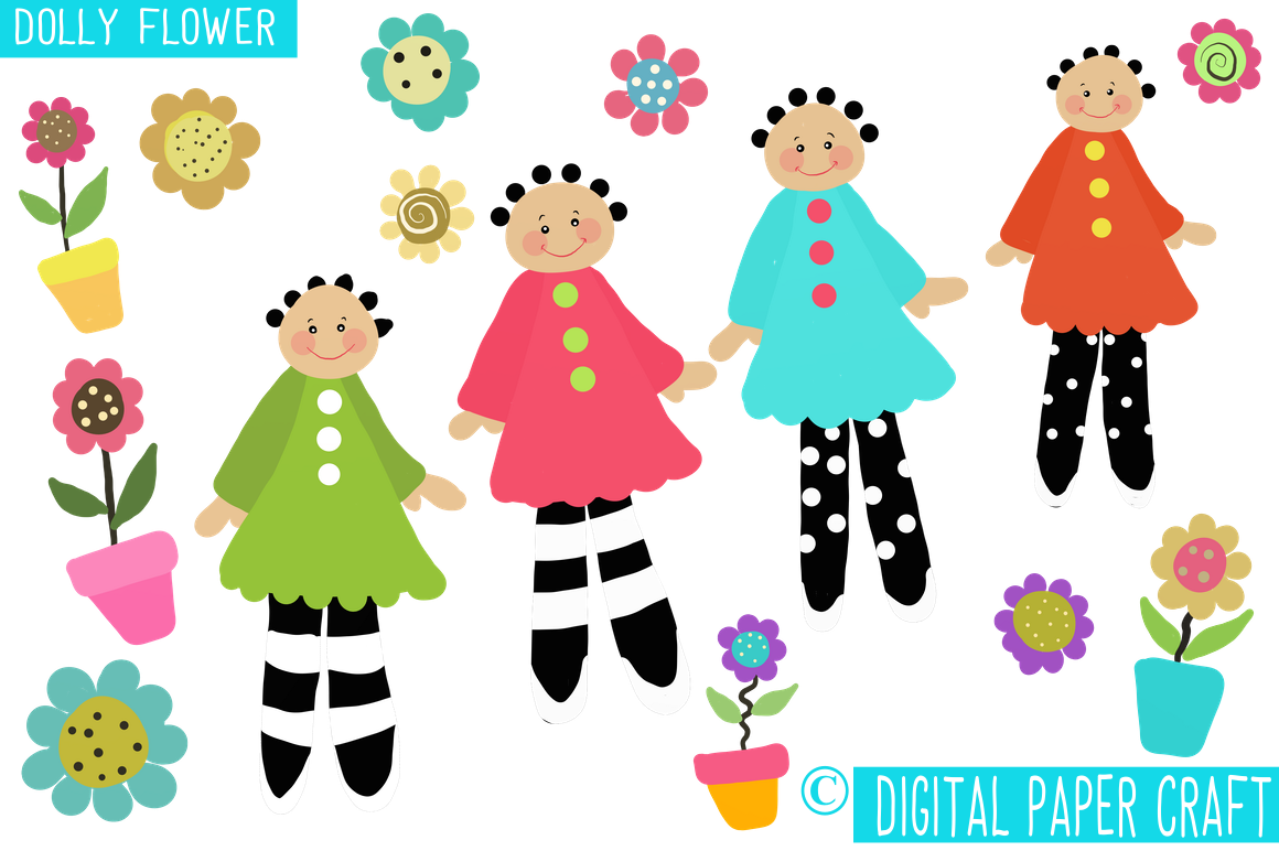 Doll clipart dolly Digital Dolly Flower Clipart by