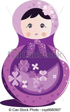 Doll clipart purple Vector Russian csp6680907 Russian doll