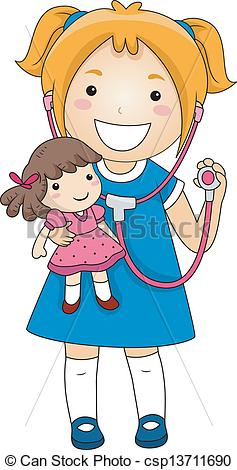 Doll clipart sick Girl Doll Playing  With