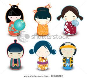 Doll clipart six Dolls Dolls Kokeshi Six Clipart