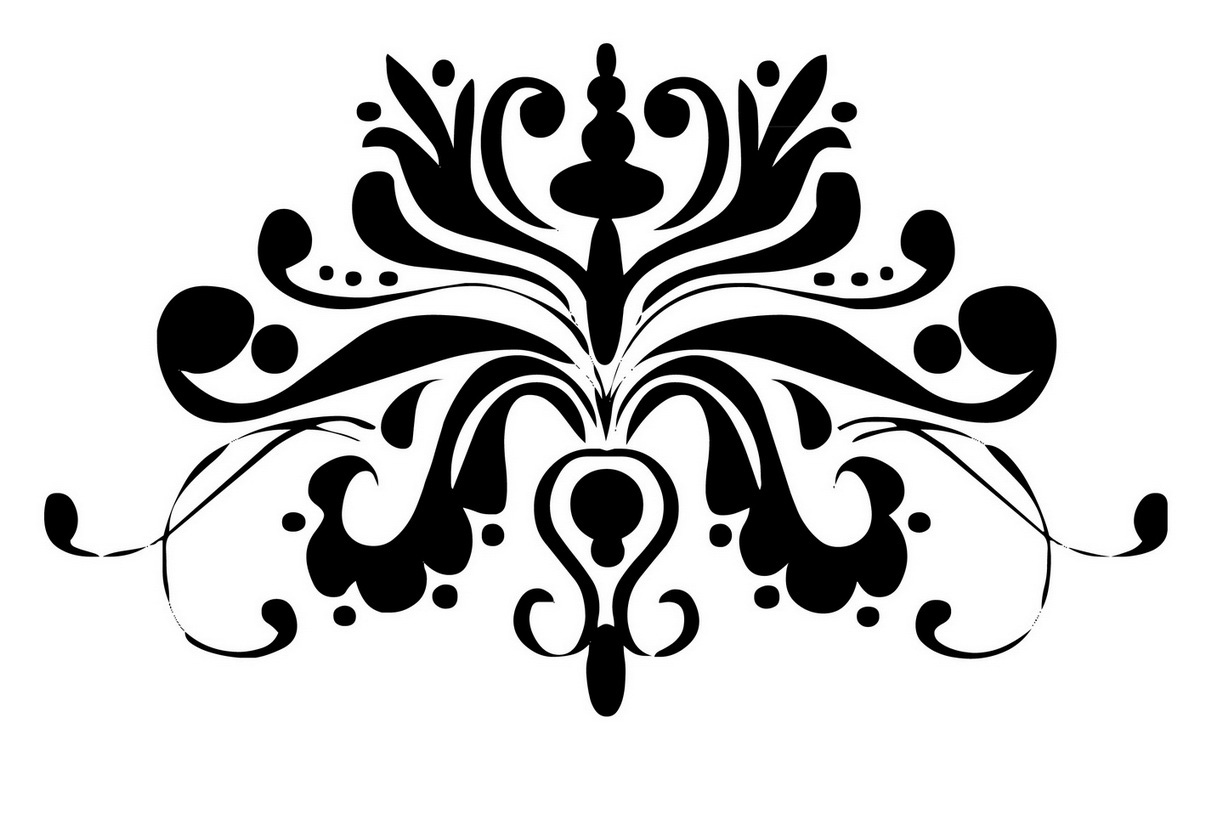 Damask clipart accent High Clip White Background Black