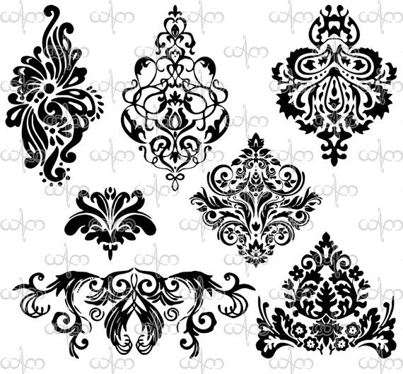 Classical clipart design pattern Na for ako Damask