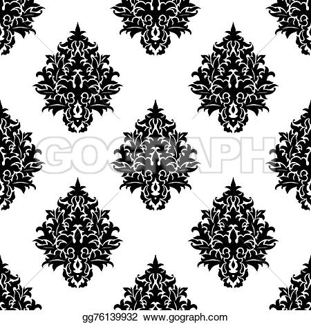 Damask clipart bold White seamless and textile pattern