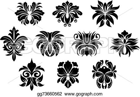 Damask clipart bold Floral elements for compositions abstract