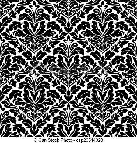 Damask clipart bold Csp20544028 Vector of damask pattern