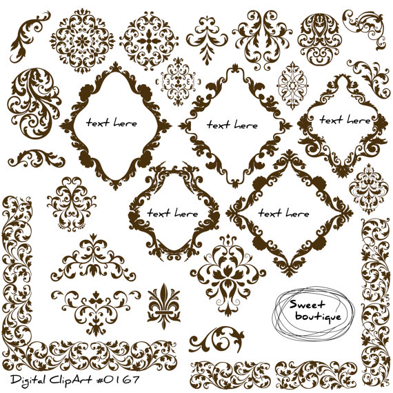 Damask clipart bracket Scrapbook  Flourish Designs Damask
