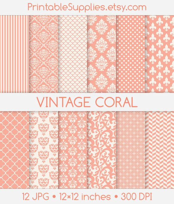 Damask clipart coral Printable Digital Flourish Background Flourish