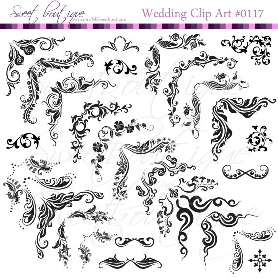 Damask clipart elegant scroll Clip INSTANT Scroll art Clip