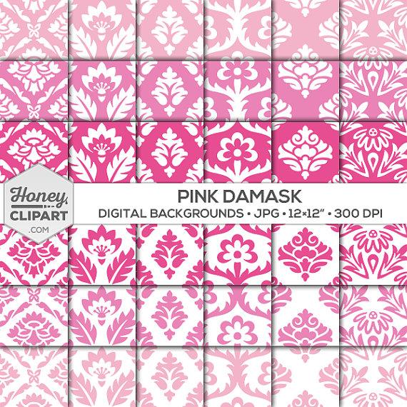 Damask clipart fancy Pink damask clipart pink paper: