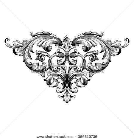 Damask clipart heart filigree Decorative engraving baroque 25+ foliage