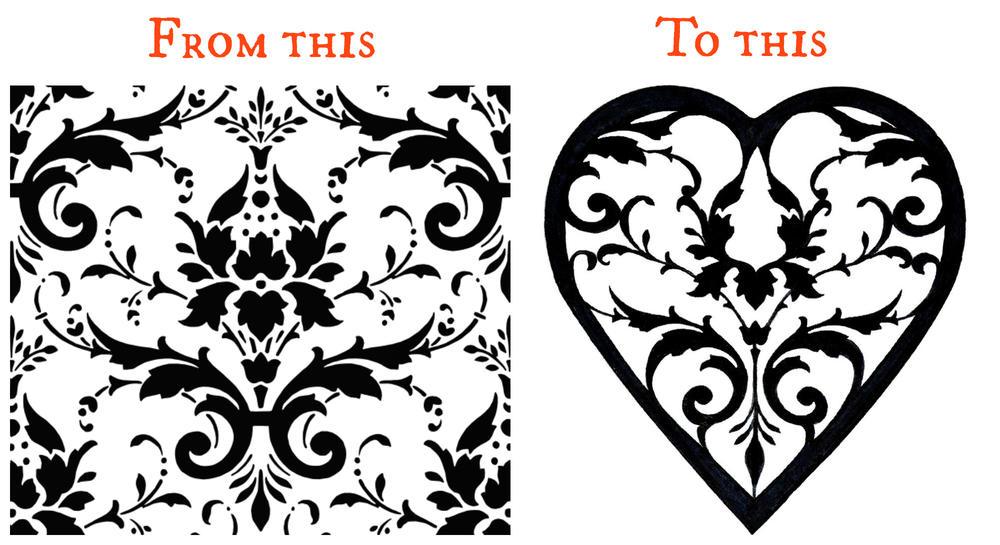 Damask clipart heart filigree Damask image  started pattern