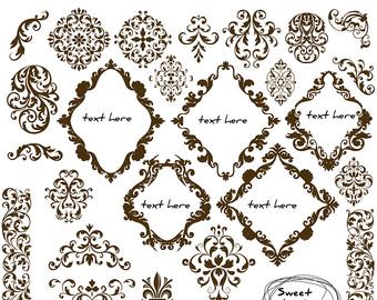 Damask clipart oval Wedding Flourish Scrapbook BROWN Damask