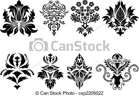 Damask clipart single Royalty and  emblem set